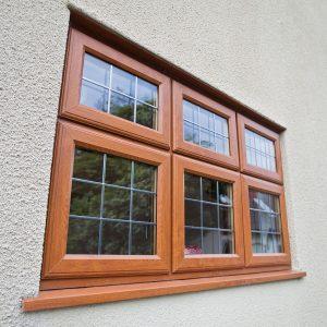Oak effect uPVC casement leaded window