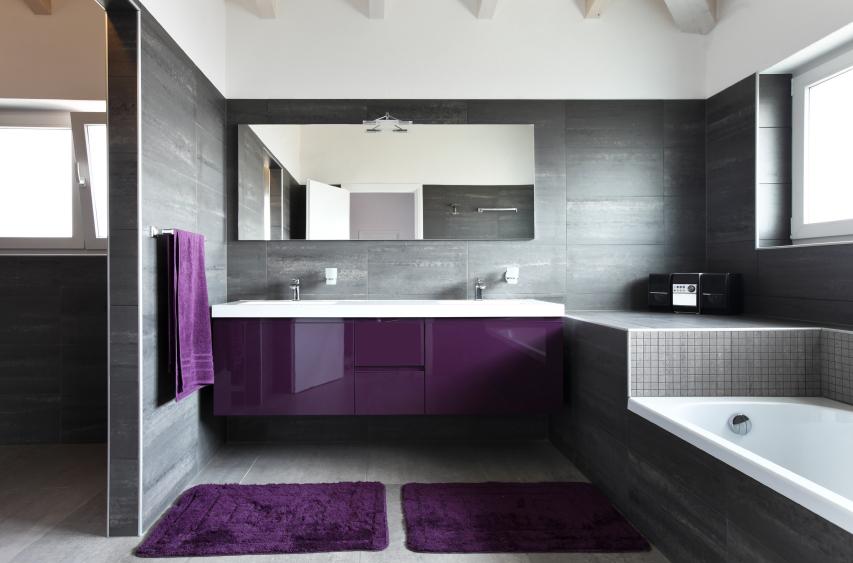 Mirror In Purple Bathroom