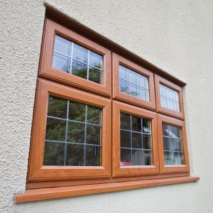 Oak effect uPVC casement leaded window