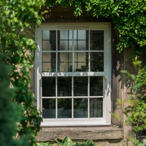 White uPVC sliding sash window