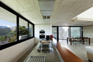 Interior with black aluminium windows