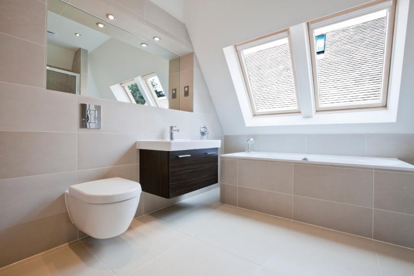 Luxury tiled modern beige bathroom